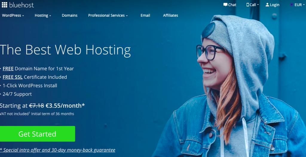 Bluehost Web Hosting homepage