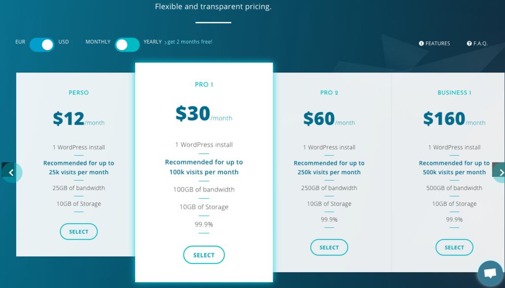 Pricing managed wordpress hosting