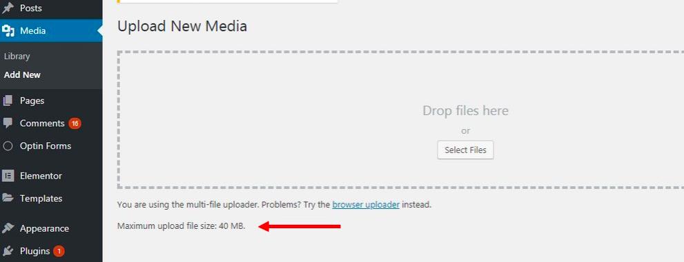 Uploading a media in WordPress