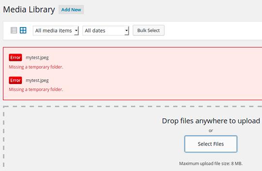 missing temporary folder error in WordPress