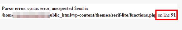 parse error wordpress
