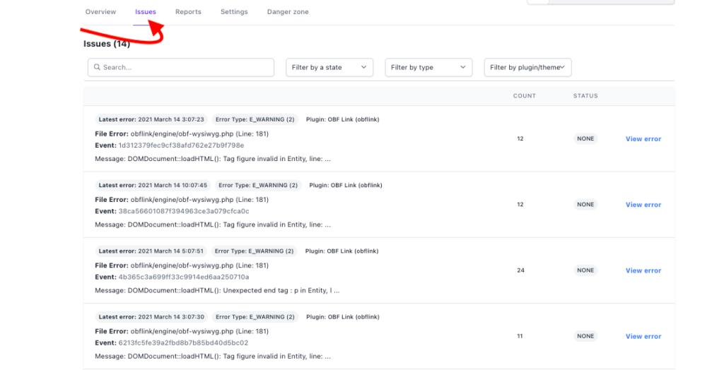PHP errors listing