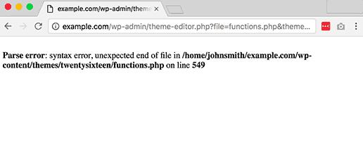 syntax errors on wordpress