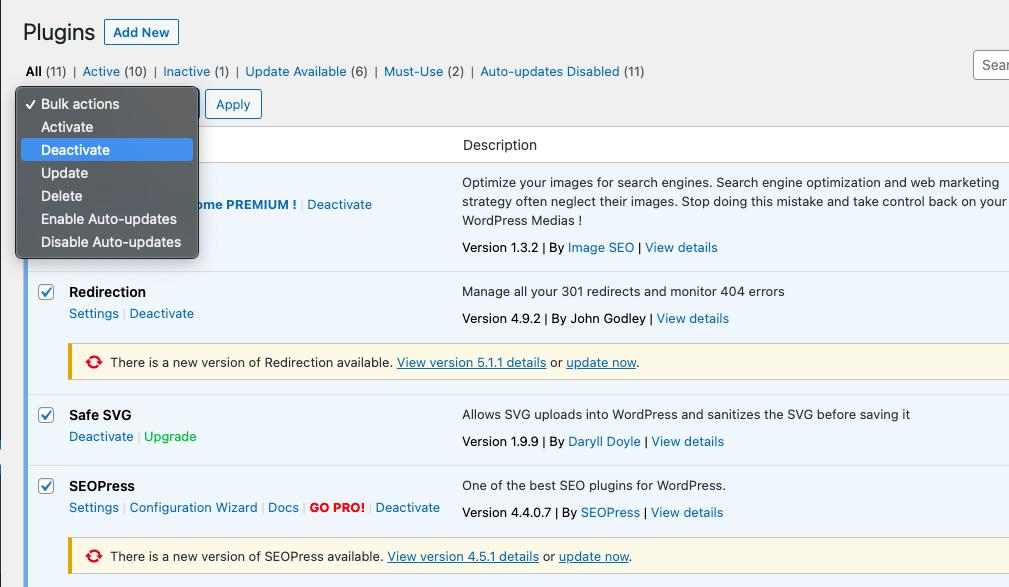 plugins deactivation wordpress