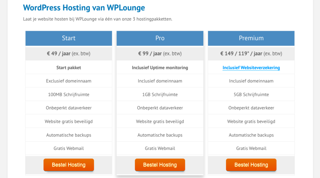 WP lounge pricing table
