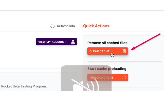 clearing wp rocket cache in WordPress