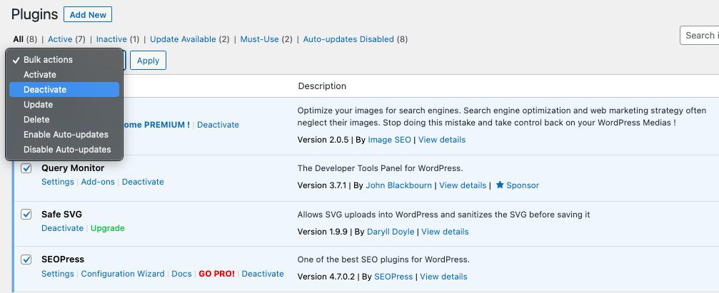 bulk deactivate plugins