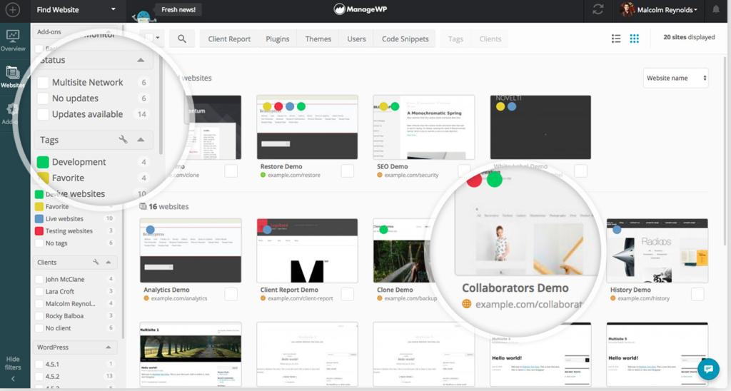 ManageWP Dashboard