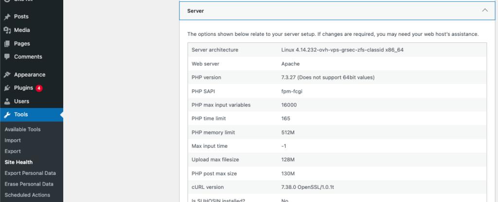 WordPress PHP memory limit