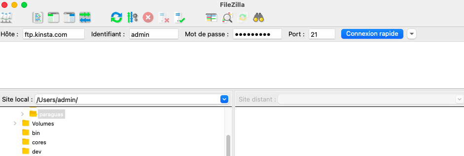 Connecting to your website with filezila
